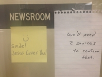 Someone put a post-it on my local public radio stations newsroom door They responded