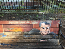 Someone put googly eyes on the Stephen King bench