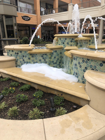 Someone put soap in the fountain at my local mall