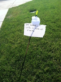 Someone shot an arrows in my yard today I left a note incase they return for it