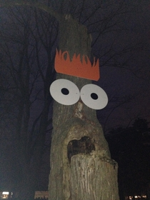 Someone thought it would be hilarious to modify a tree in a graveyard in my hometown They were correct