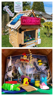 Someone turned one of those free little libraries into a peep show