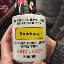 Speaking of German mugs here is a poorly translated one from my trip