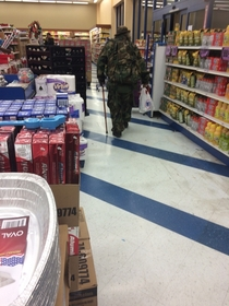 Spooky floating bag in the grocery store