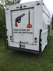Spotted on the back of a plumbers truck