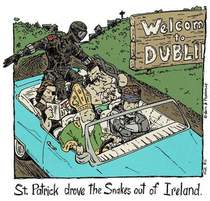 St Patrick drove the snakes out of Ireland