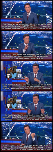 Stephen Colbert is getting pretty snarky