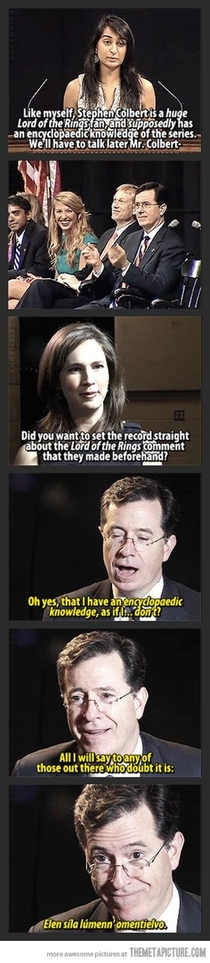 Stephen Colbert King of the Geeks Leader of LOTR fangirls