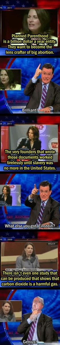 Stephen Colbert proves that believing Michelle Backman is detrimental to your health