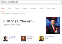 Stephen Colbert was outraged that Google listed his height incorrectly Google has since met him in the middleish