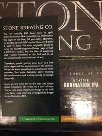 Stone Brewing Co admits to a typo in their usual fashion