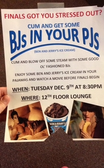 Stressed for finals Come get some BJs in your PJs