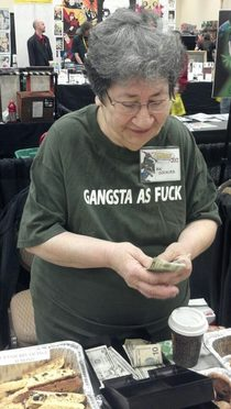 sweet old lady selling baked goods at the Pittsburgh comicon