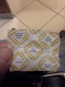 Taking a dump at work and this Halls wrapper gave me motivation