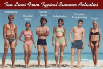 Tan Lines from typical summer activities xpost rprogrammerhumor
