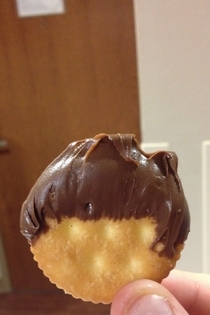 Tell me this Nutella covered Ritz doesnt look like its about to present the evening news