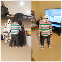 That moment you realise your daughter is the same size as your Storm Troopers