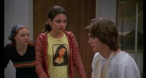 That s Show Mila Kunis wearing a t-shirt with a picture of herself
