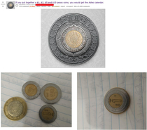 The Aztec Calendar made out of pesos on the rPics front page post