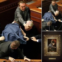 The brawl in the Ukrainian Parliament looks reinassance AF