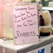 The butcher in Cardiff market has a strange sense of humour