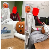 The cancer clinic my mom works for entered a Pumpkin Halloween contest yesterday this is what they came up with