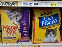 The cat in the generic brand looks disappointed