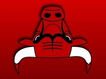 The Chicago Bulls logo upside down looks like a robot reading the bible