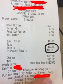 The chickfila cashier was so religious that they gave a  cent discount to keep the total from being