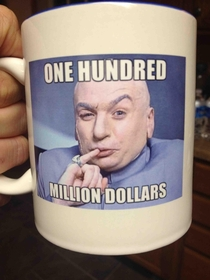 The company my dad works for reached an important milestone last year for sales They gave out mugs to celebrate