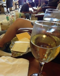 The deluxe pedicure came with wine and cheese