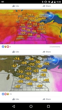 The difference between winter and summer in Minnesota
