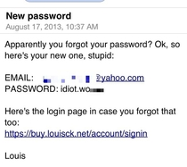 The email you get if you forget your password for Louis CKs website