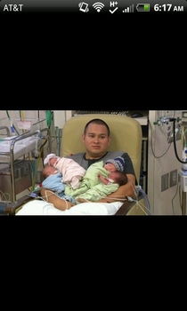 The face of a new father of quadruplets