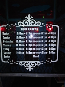 The hours to this smoke shop