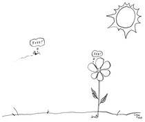 the insect-flower relationship - Liana Finck New Yorker cartoon