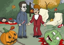 The jealousy of Micheal Myers - my friend draws these so infrequently nowadays because he lacks motivation I just wanted to be able to show him people cando enjoy his doodles