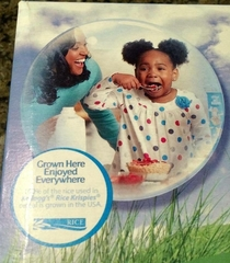 The kid in this Rice Krispies ad looks terrified as the Mother taunts her to eat her breakfast