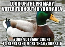 The last primary voter turnout was  where I live My vote effectively counts for  others who wont use it