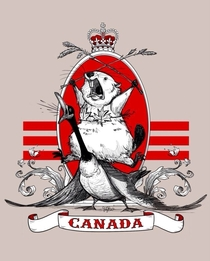 The majestic Canadian beaver riding a goose while wearing a maple leaf bikini