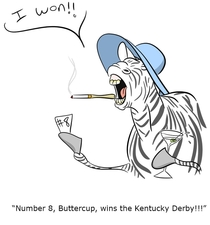 The mods at raskreddit told me to draw a zebra winning the Kentucky Derby to ger my banned lifted This is what I drew for them Hopefully it works
