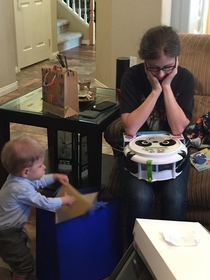 The moment your daughter realizes you bought the grandson musical instruments for his birthday