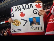 The most Canadian sign at the hockey game tonight