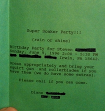 The most s thing youll see all day I found this old birthday invitation from  while going through some old stuff