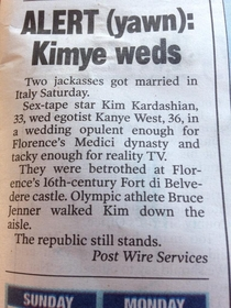 The New York Post reported the Kanye WestKim Kardashian wedding perfectly