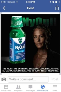 The newest NyQuil commercial sponsored by The Walking Dead