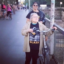 The old lady is a Slash fan but she doesnt know Slash is standing behind her