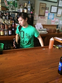 The only bar near the St Paddys parade staging area was a Chinese restaurant This was one of the Bartenders
