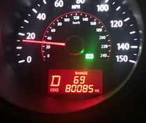 The planets aligned in my KIA BOOBS on the odometer mile fuel range