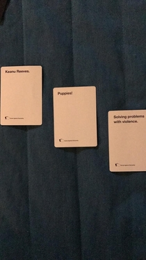The plot of John Wick  as explained by Cards Against Humanity